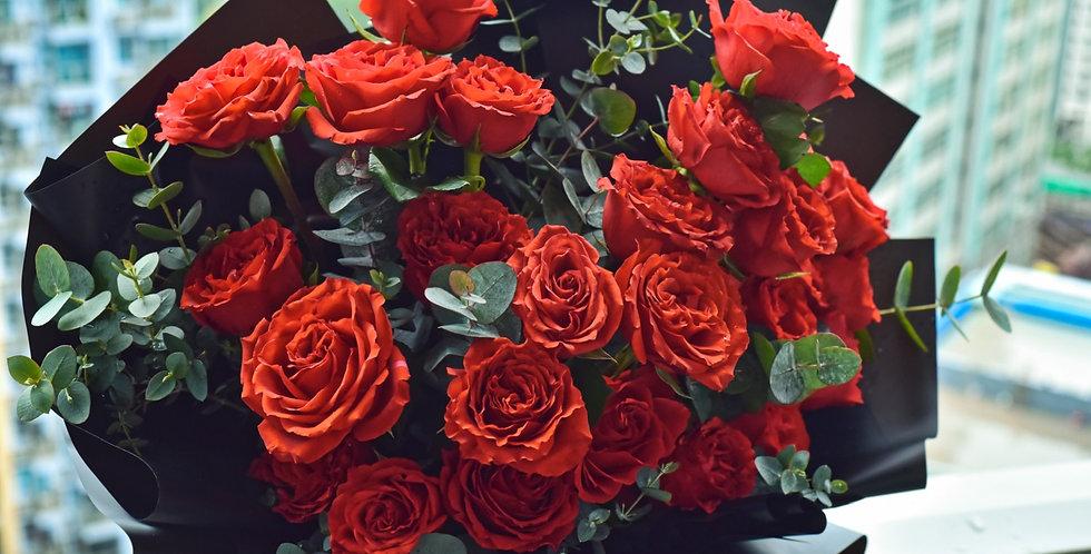 《冷靜與激情 》重口味版- 情人節花束 紅玫瑰花生日花 紀念日花 觀塘花店 韓式花藝 flower delivery 網上花店