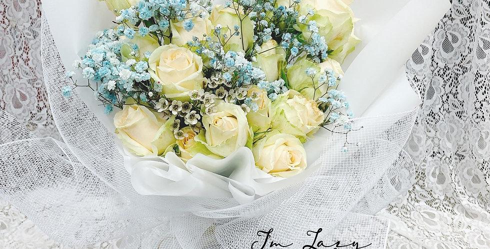 「 純白的美」   香檳色玫瑰 情人節花束