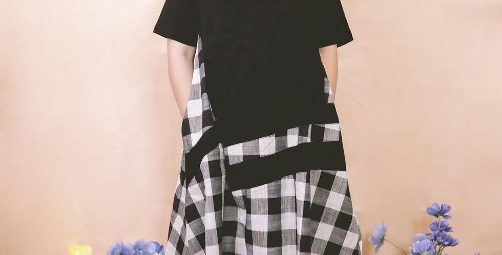 韓裝🇰🇷 黑白格仔 連身裙