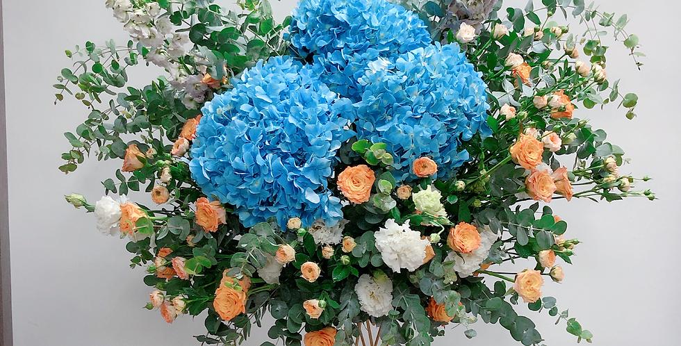 《前程錦繡 一展萬里》 韓式花藝 開張花籃 繡球花 grand open flower basket