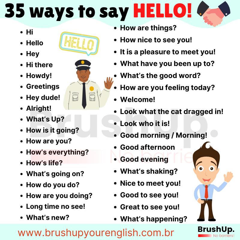 Greetings, jeitos de dizer olá em Inglês