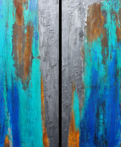 3.Teal Ridge Diptych with Graphite 2020