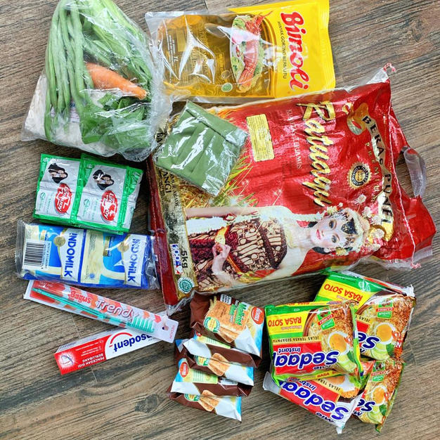 Staple food inside our Rp. 100.000 bag
