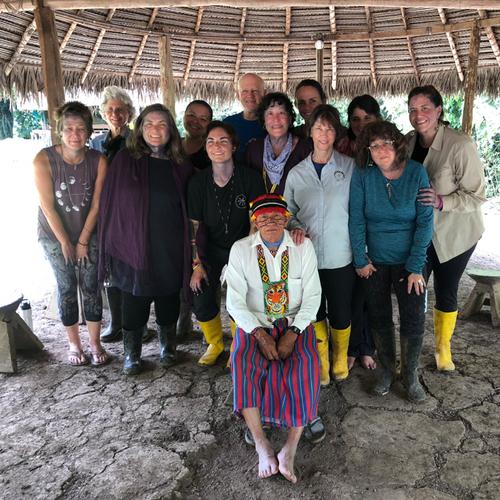 Group photo with Achuar Shaman Rafael Taish in Wayusentsa..