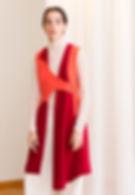 Asymmetrical orange and red tunik