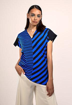 Stripe Print Crepon Blouse
