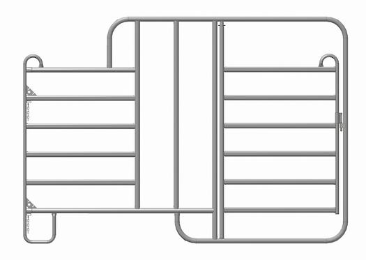 Zaunelement mit zwei Fressplätzen und Tür