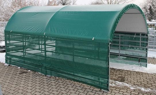 Panelzelt 6 m mit seitlich Windschutznetz