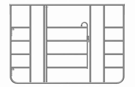 Zaunelement mit Tür & zwei separaten Fressplätzen