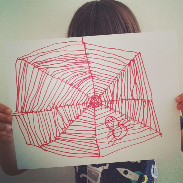 Child drawing of spider web