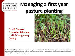 Presentation: Managing a first year pasture planting. Downloadable equine resources from MSCD