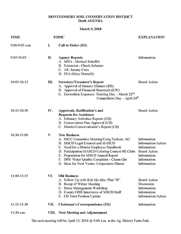 MSCD Board Agenda for March 2018
