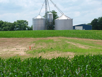 Image of grain silos across a field on a farm