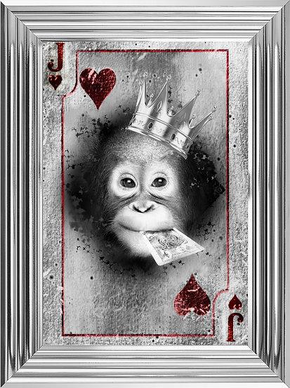 Cheeky Chimp Joker Playing Card in Black and White