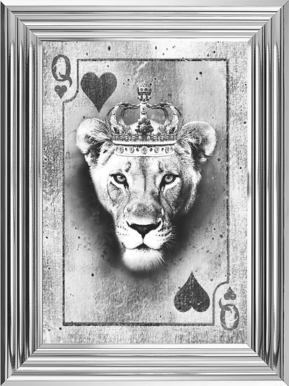 Queen of Hearts Playing Card in Black and White