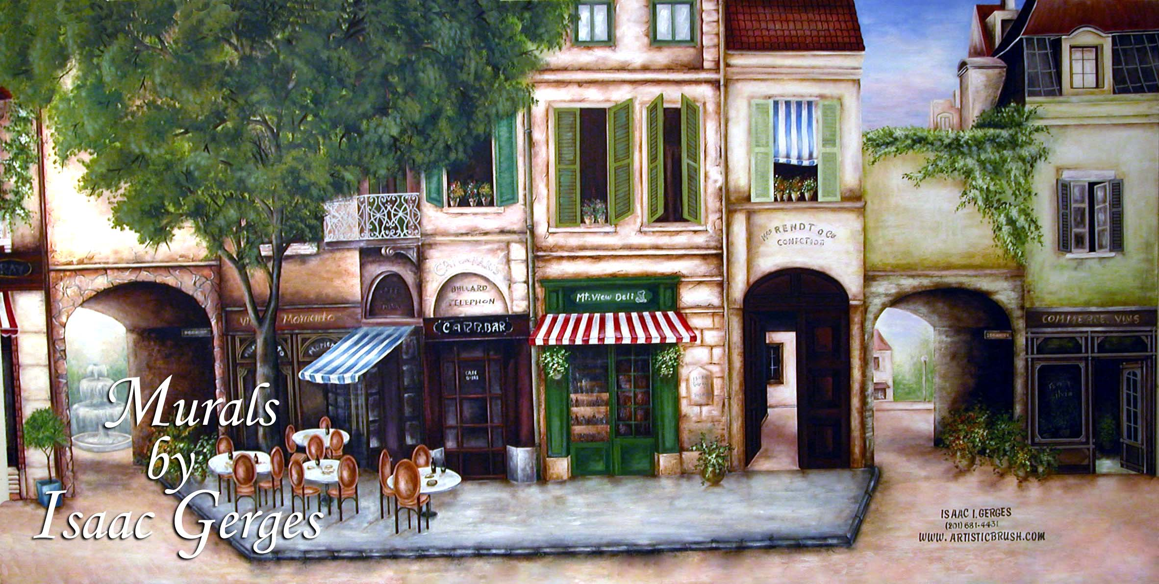 French Bistro Mural in Cafe & Deli