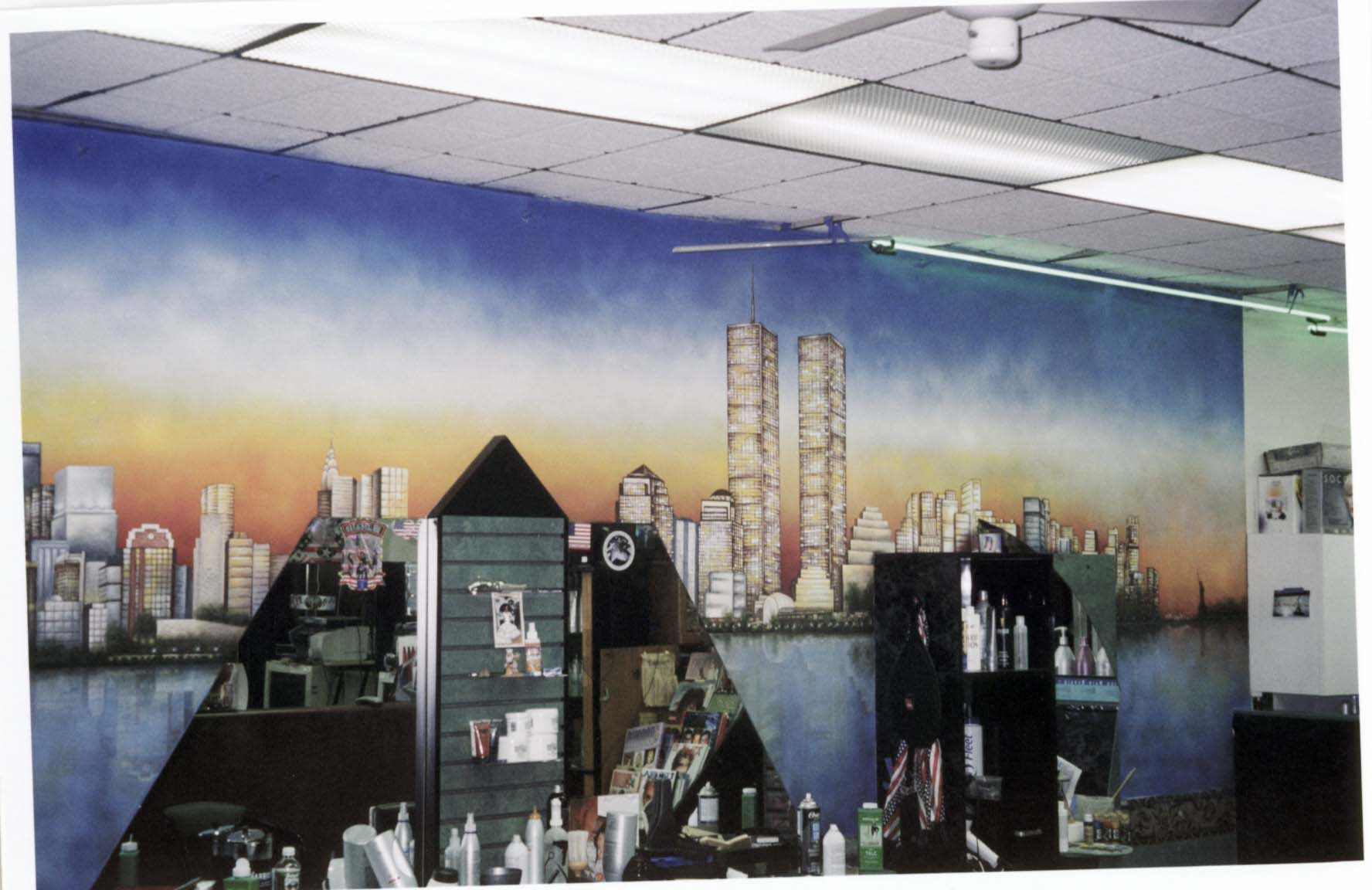 Custom hand painted NY Skyline Mural