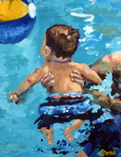 Teddy Swimming 12x16