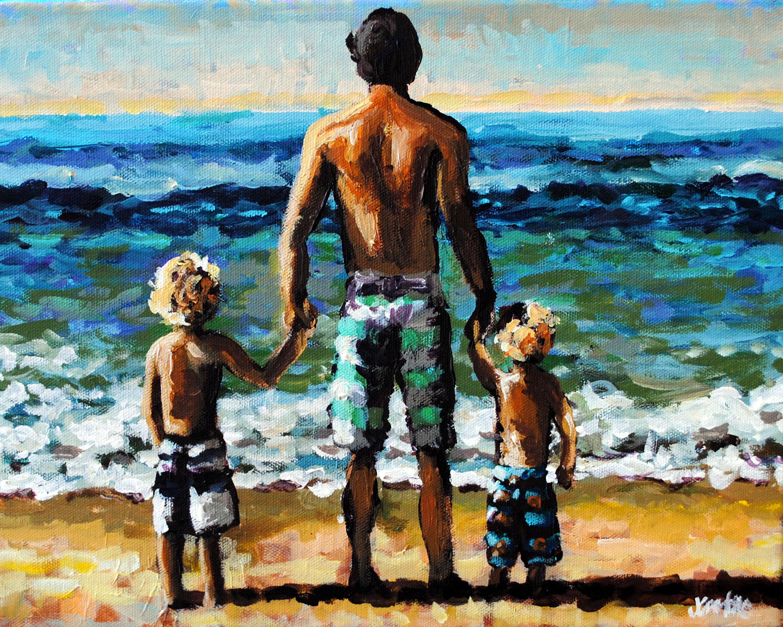 Hedrick Beach Babies 12x16