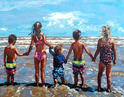 Galveston Beach Babies 16x20
