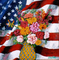 Flag and Flowers 24x24