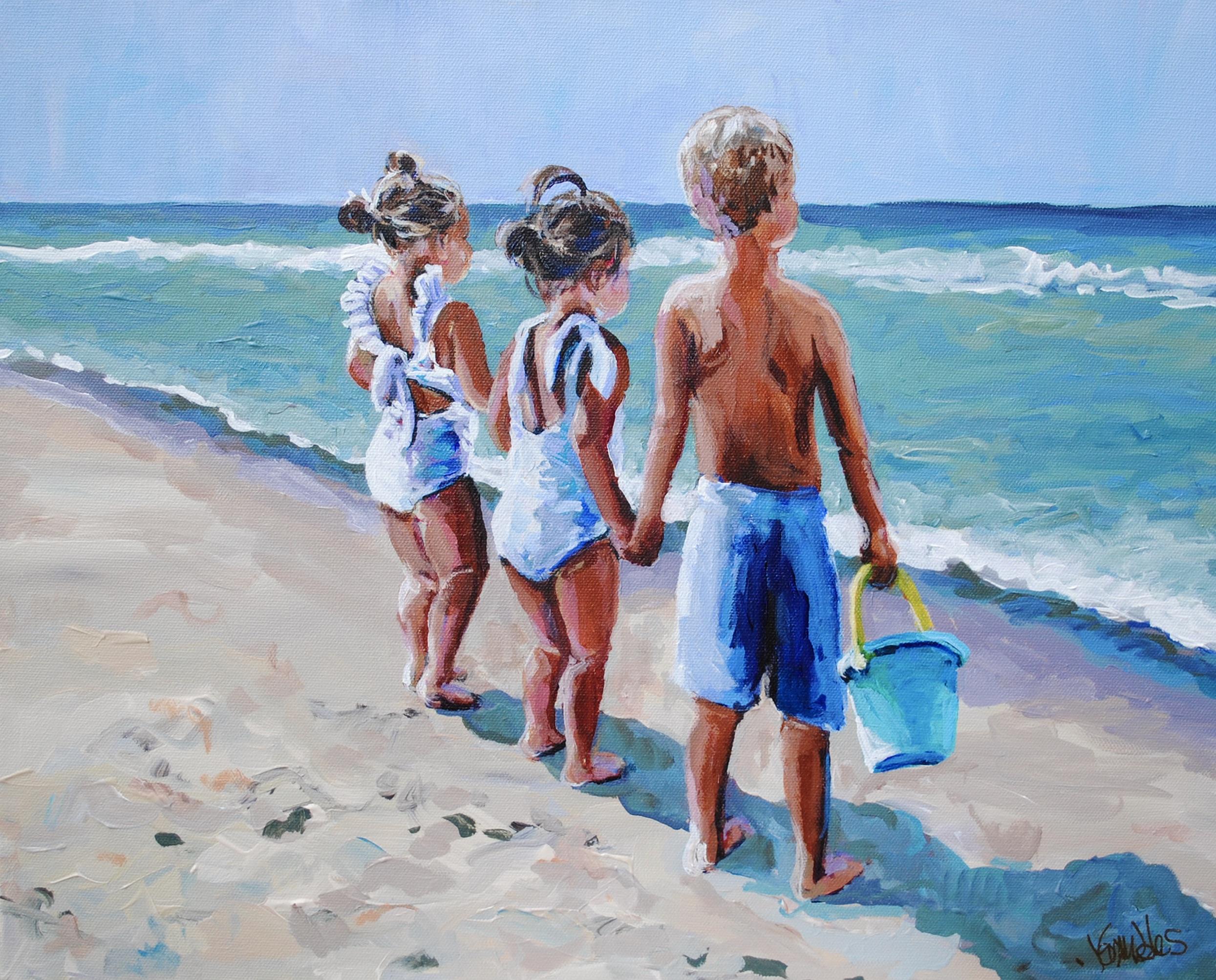 Nowlin Beach Babies 16x20