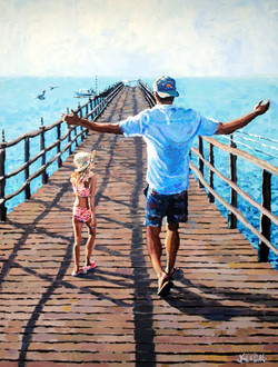 With Daddy on the Pier 18x24
