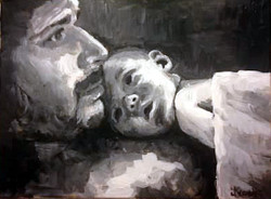 Daddy and Thompy 12x16