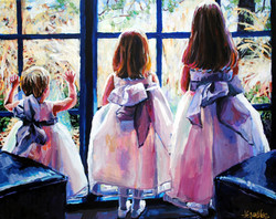 Girls In White Dresses 16x20