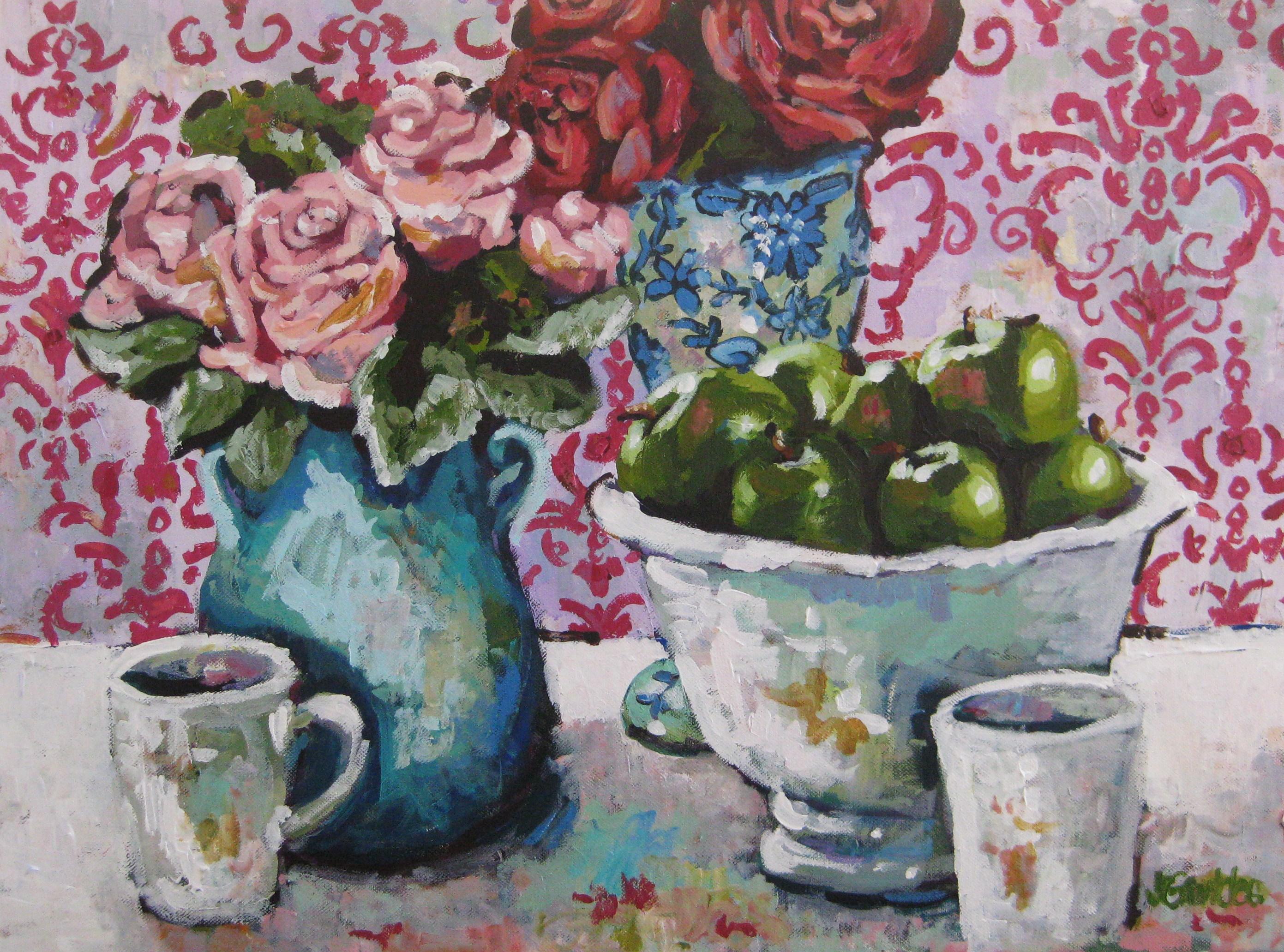 Pink Damask Floral 18x24