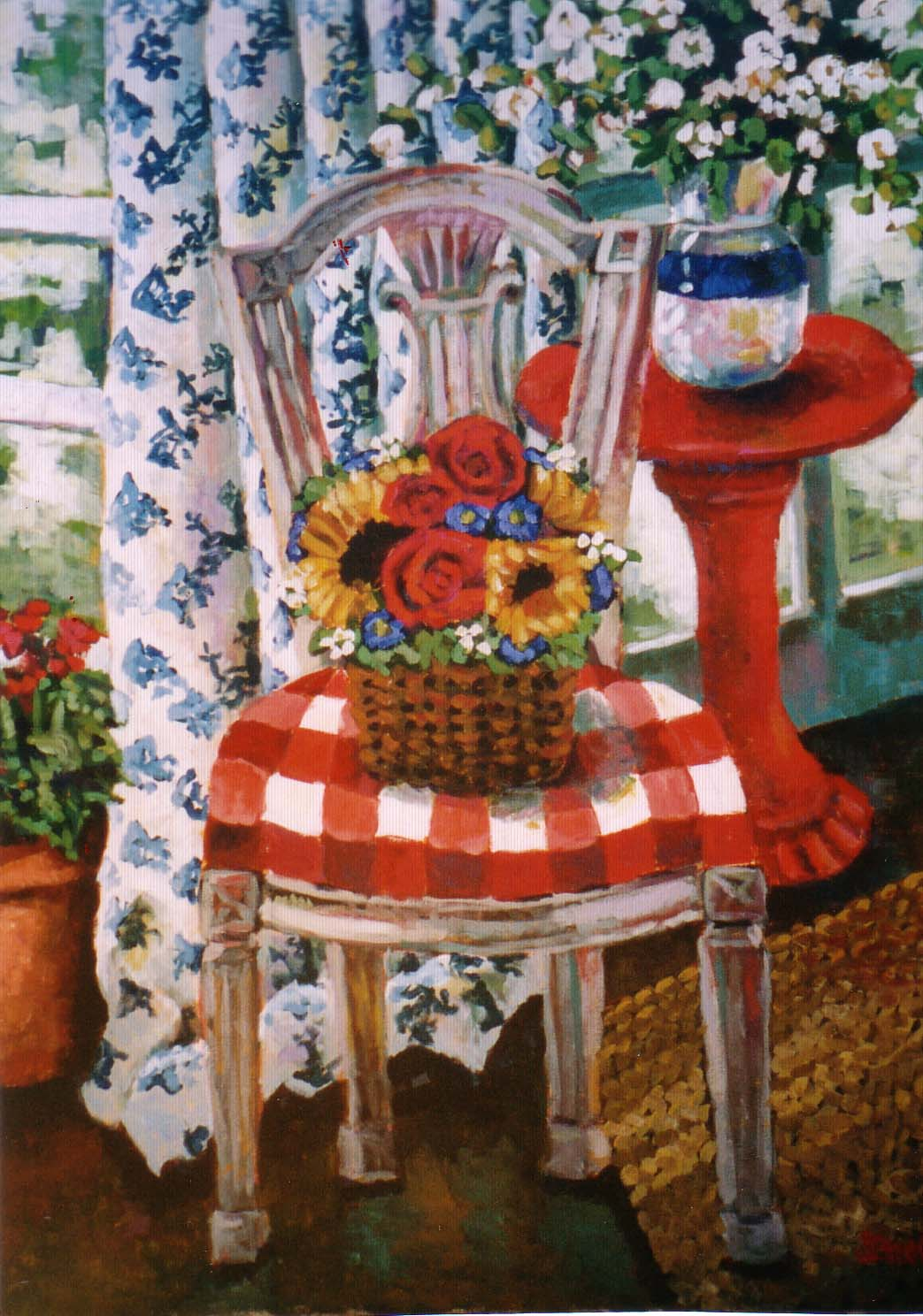 Red Gingham Chair 30x40
