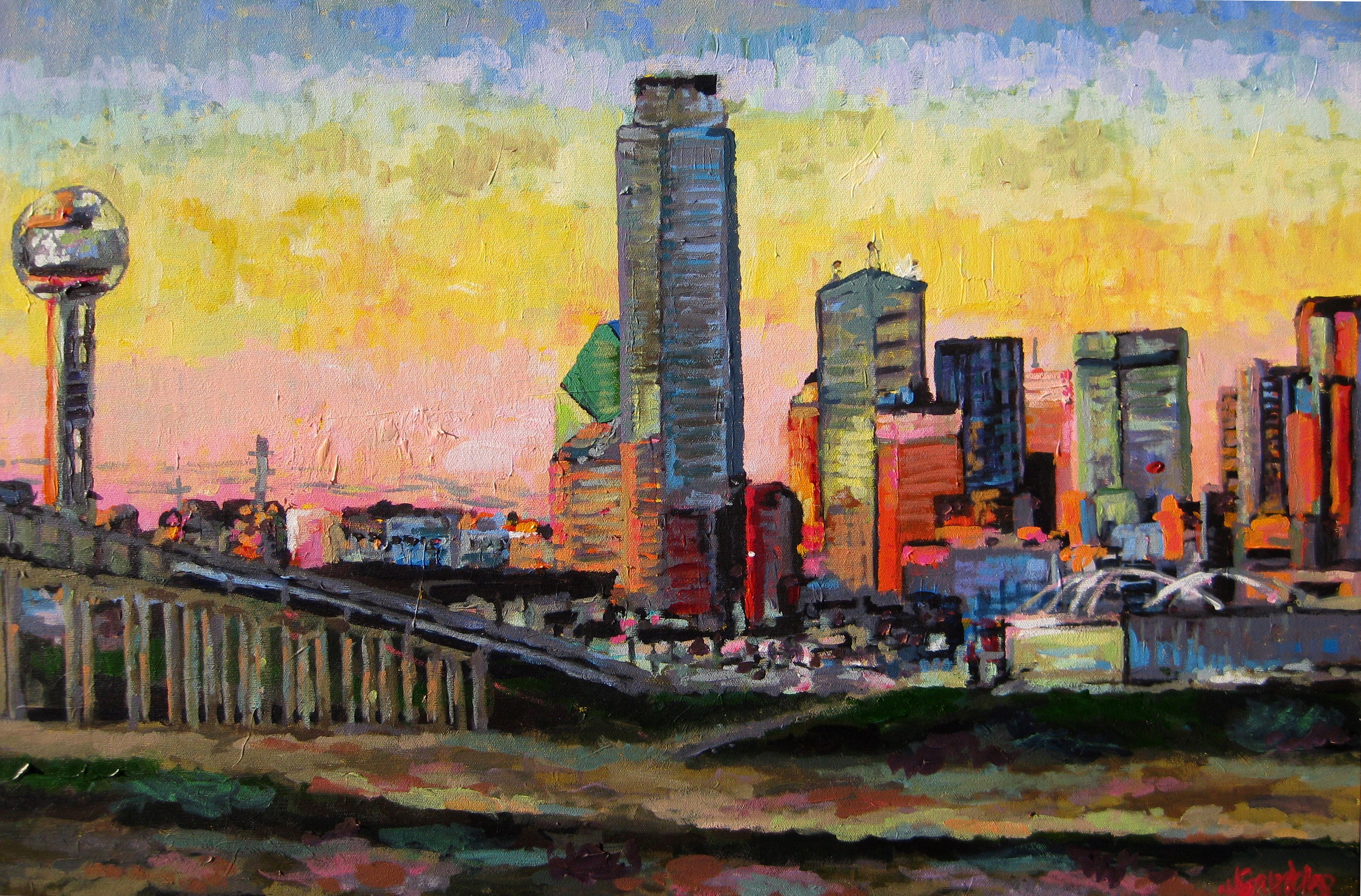 Sunset Over Dallas 20x36
