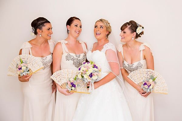 Bride Posy with maids fans