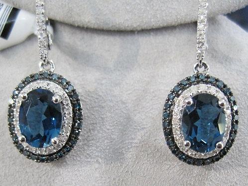 London Blue Topaz Double Halo Earrings