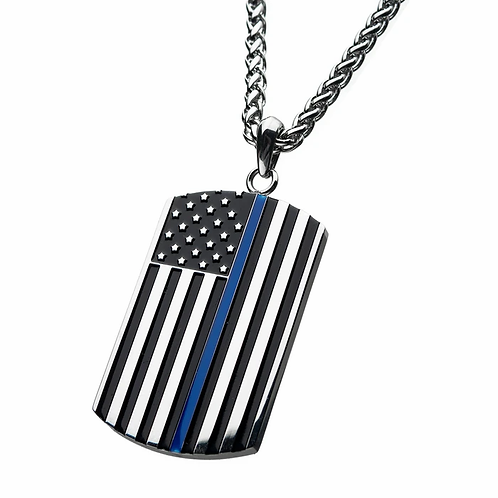 Stainless Steel with Thin Blue Line American Flag