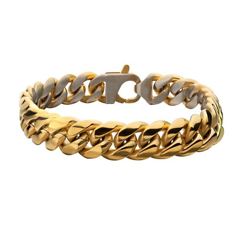 Matte Steel & Gold Plated Reversible Big Curb Chain Colossi Bracelet