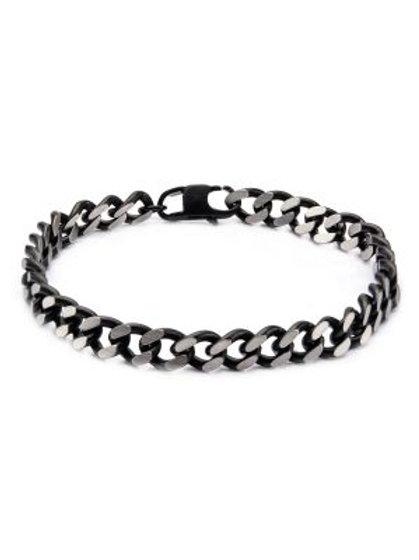 Black Plated Diamond Cut Chain Bracelet