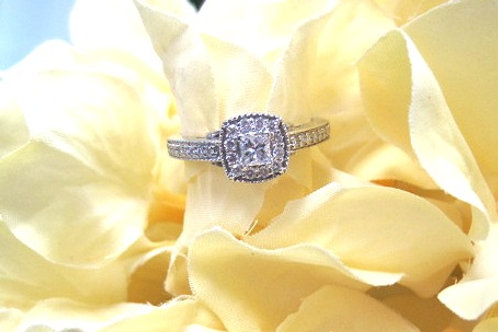 14kt White Gold  Princess Cut Carriage Ring
