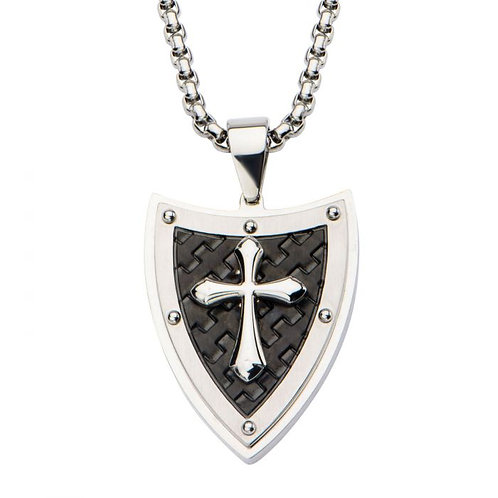 Men's Stainless Steel Shield & Cross Necklace