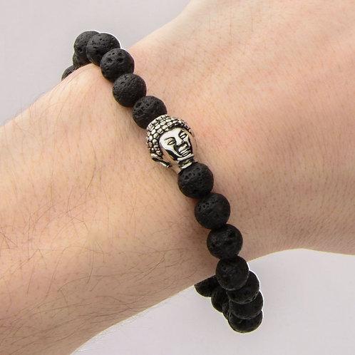 Lava Stone & Stainless Steel Buddha Stretch Bracelet