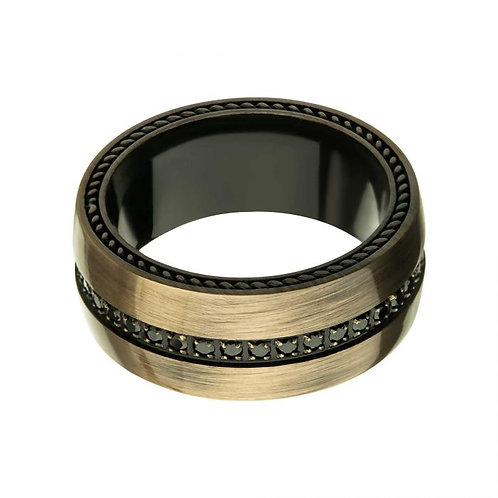 Stainless Steel Ring with Black CZ