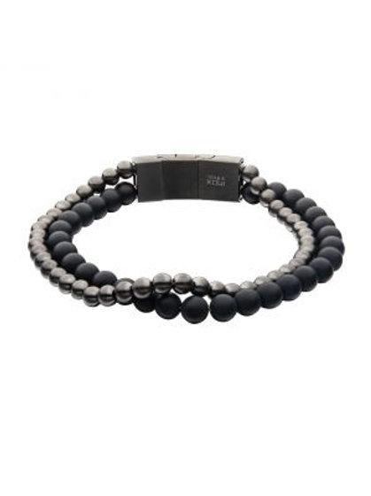 Stainless Steel Gun Metal Onyx bead Bracelet