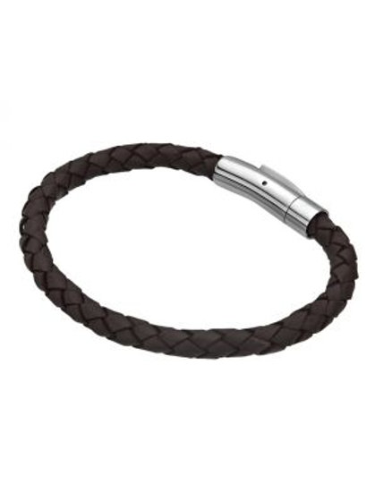 Single Dark Brown Braided Leather Bracelet