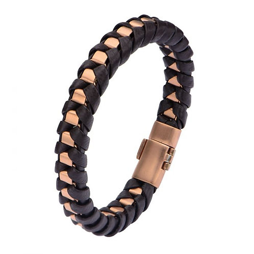 Men's Stainless Steel Rose Gold Plated Matte Finished with Brown Leather