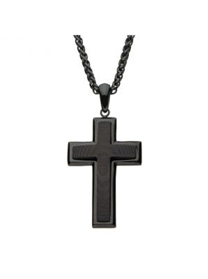 Stainless Steel in Black Carbon Fiber Cross Pendant with Black Spiga Chain