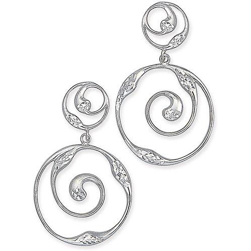 Great Lakes Water Drop Dangle Spiral Earrings