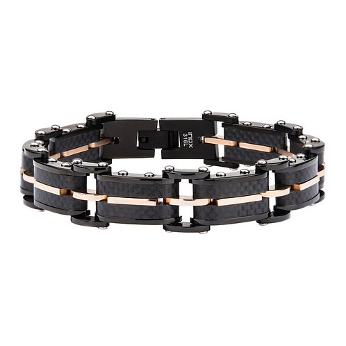 INOXSolid Carbon Graphite and Rose Gold Plated Link Bracelet