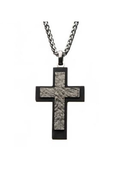 Meteorite Finish Steel Carbon Fiber Cross Pendant with Steel Wheat Chain