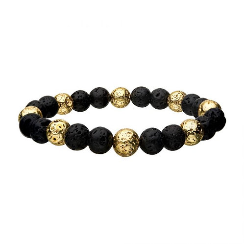 Gold Plated and Lava Beads Bracelet