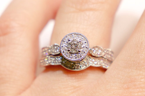 14kt White Gold Crown Ring and Band